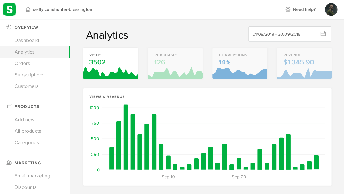 Track the best performing products on Sellfy